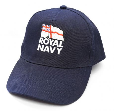 The Royal Navy Shop  - Cotton navy Baseball Cap with embroidered royal navy white ensign logo.